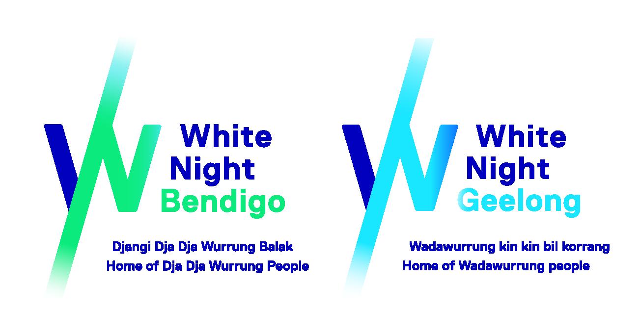 White Night Bendigo Logo and White Night Geelong Logo